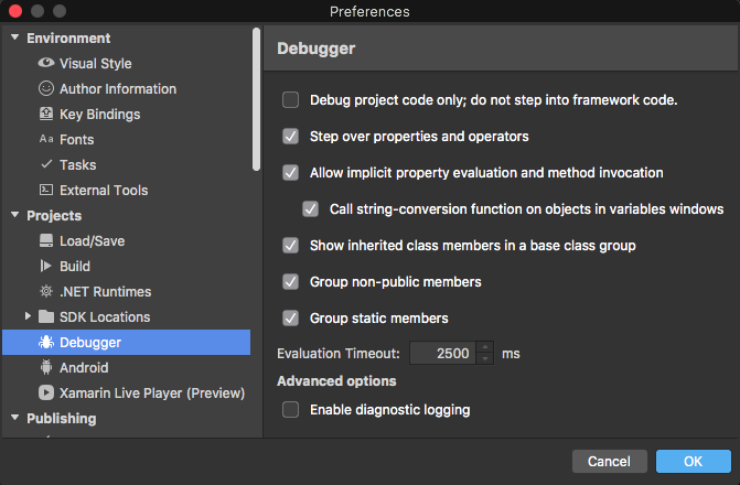 Visual Studio for Mac Enable Debug